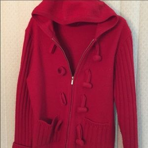 Red sweater coat with toggle buttons